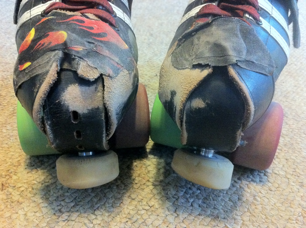 Here is the wear on my toe stop protectors after over a year of skating. You'll notice I'm due to rotate some pieces to the other skate but they have held up well. Tape protects the exposed laces from getting torn. They aren't the prettiest, but they are super practical for the rought floors I skate on.