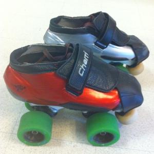 Bont semi-custom hybrids, closed toe, durolite skin with black leather strip and tongue. Size 1 Avenger plates.